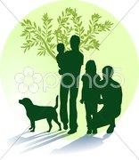 Mutter, Vater, Kinder und Hund Stock Photos