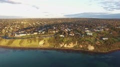 Panoramic view - flight along Frankston coastline showing the Nepean Highway Stock Footage