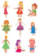 Dolls toys vector set Stock Illustration