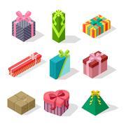 Isometric gift box vector icon isolated Stock Illustration