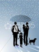 Familie und Regenschirm Stock Photos
