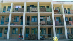 3 Storey Building. Many Flat House. Dormitory With Many Balconies. Washed Stock Footage