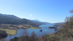 The Queen's View of Loch Tummel in the Scottish Highlands Stock Footage
