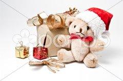 Geschenke und Teddybär Stock Photos