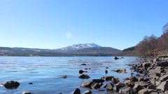 Schiehallion and the shoreline of Loch Tummel in the Scottish Highlands Stock Footage