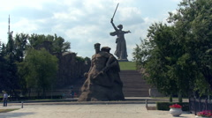 Sculpture of Man With Naked Torso Holding Rifle in Left Hand.motherland Calls Stock Footage