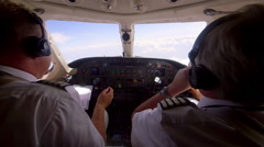 PILOTS PRIVATE JET AIRCRAFT COCKPIT CENTRAL EUROPE Stock Footage