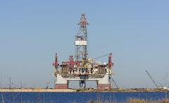Offshore Oil Rig on Shore Stock Photos