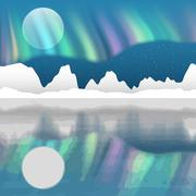 Arctic pole vector landscape with aurora borealis Stock Illustration