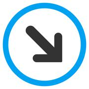 Arrow Right-Down Flat Rounded Vector Icon Stock Illustration