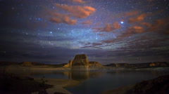Astro Time Lapse of Milky Way over Lone Rock at Lake Powell, Utah  Stock Footage