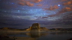 Astro Time Lapse of Milky Way over Lone Rock at Lake Powell, Utah -Long Shot- Stock Footage