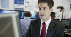 Confident and mature stock market trader is doing a deal Stock Footage