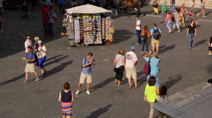 CROWDS OF TOURISTS HORSE CARRIAGE FLORENCE TUSCANY Stock Footage