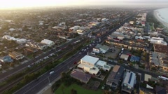Horizontal pan across Patterson Lakes suburb, river, and Nepean Highway bridge Stock Footage