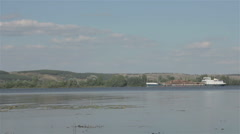 Barge with logs floating on the river Stock Footage