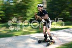 Skiken im Wald Stock Photos