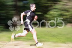 Joggen im Wald Stock Photos