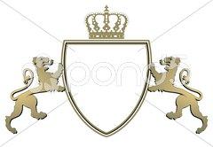 Wappen schreitende Löwen, Krone Stock Photos