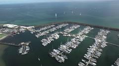 Flight around Sandringham Marina and Yacht Club, Melbourne, Australia Stock Footage