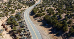 Aerial view of desert highway, Santa Fe, New Mexico, United States, Stock Footage