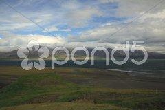 Sunlit hills Stock Photos