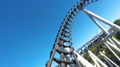 Rollercoaster ride full lap front seat footage Stock Footage