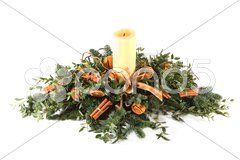 Cinnamon and oranges Christmas table decoration Stock Photos
