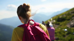 Young woman breathing fresh air in summer mountains, Tatras, Slovakia Stock Footage