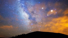 Astro Time Lapse of Milky Way & Cloud Layer over Hills in Arizona -Pan Right- Stock Footage