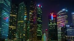 Singapore's Dramatic Night Time Skyline. 4k UltraHD footage Stock Footage