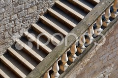 Treppe mit Balustrade Stock Photos