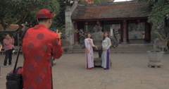 People making photos in the Temple of Literature. Hanoi, Vietnam Stock Footage