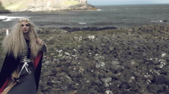 4k Fantasy Shot on Giant's Causeway of a Queen Looking at camera (middle shot) Stock Footage