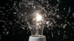 Glass Light Bulb Breaking in Super Slow Motion Stock Footage