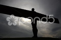 Silhouetted Angel of the North Stock Photos