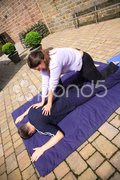 Shoulder blade massage Stock Photos