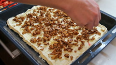Sprinkled square homemade pizza chiken meat Stock Footage