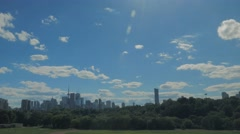 Toronto Skyline Buildings Riverdale Field Park Day Clouds Sky Wide Stock Footage