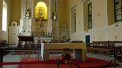 Ornate interior of Saint Anthony's Church in Macau. UltraHD video Stock Footage