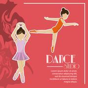 Dance studio avatar dancer design Stock Illustration