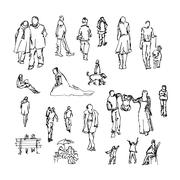 Set of doodle lined people. Trace collection Stock Illustration
