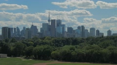 Toronto Skyline Buildings Riverdale Field Park Day Clouds Stock Footage