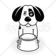 Kleiner Hund mit Napf Stock Photos