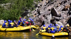 White water rafters resting Stock Footage