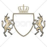 Wappen mit Einhorn Stock Photos
