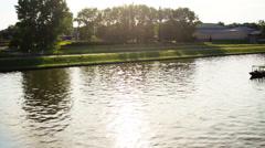 View of Wistula river in Krakow, Poland Stock Footage