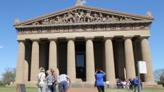 ESM Nashville Parthenon Summer Wide West Pediment Stock Footage