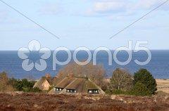 Reetdachhaus in den Dünen von Sylt Stock Photos
