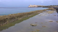 A view along the waterfront Malecon in Havana, Cuba Stock Footage